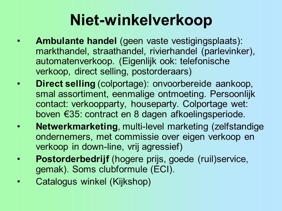 Niet-winkelverkoop Ambulante handel (geen vaste vestigingsplaats): markthandel, straathandel, rivierhandel (parlevinker), automatenverkoop.