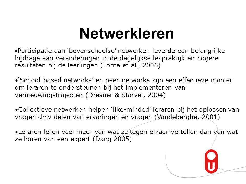 Netwerkleren  Participatie aan 'bovenschoolse' netwerken leverde een belangrijke bijdrage aan veranderingen in de dagelijkse lespraktijk en hogere re