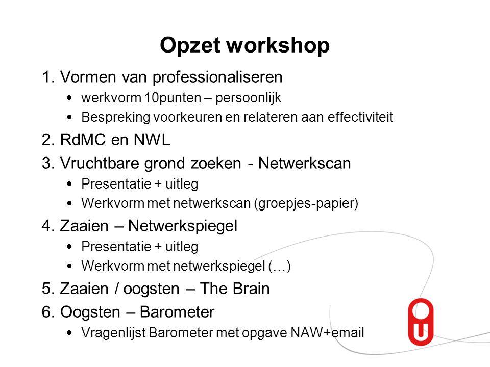Opzet workshop 1.Vormen van professionaliseren werkvorm 10punten – persoonlijk Bespreking voorkeuren en relateren aan effectiviteit 2.RdMC en NWL 3.Vr