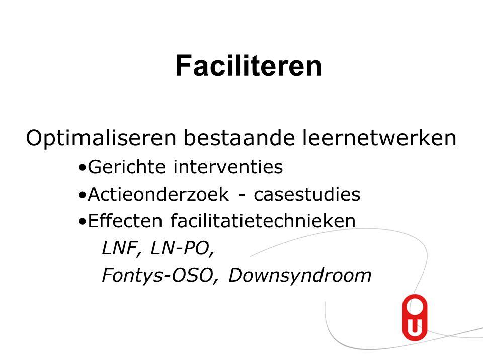 Faciliteren Optimaliseren bestaande leernetwerken Gerichte interventies Actieonderzoek - casestudies Effecten facilitatietechnieken LNF, LN-PO, Fontys