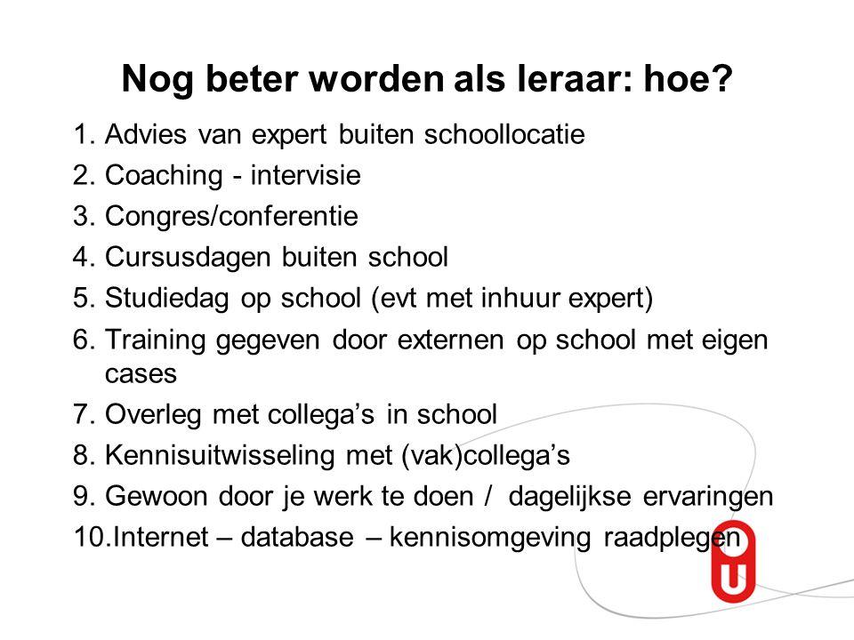 Nog beter worden als leraar: hoe? 1.Advies van expert buiten schoollocatie 2.Coaching - intervisie 3.Congres/conferentie 4.Cursusdagen buiten school 5
