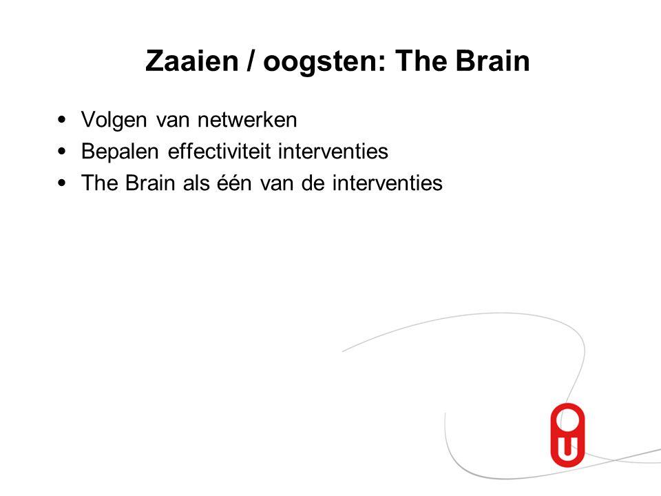 Zaaien / oogsten: The Brain Volgen van netwerken Bepalen effectiviteit interventies The Brain als één van de interventies