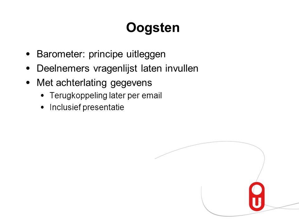 Oogsten Barometer: principe uitleggen Deelnemers vragenlijst laten invullen Met achterlating gegevens Terugkoppeling later per email Inclusief present