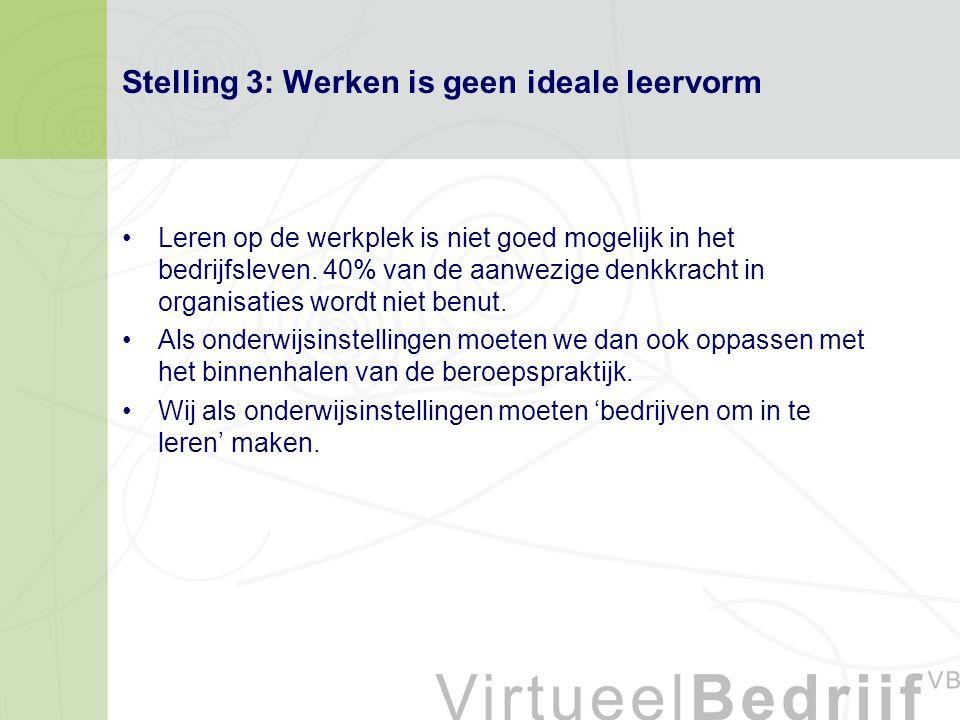 Stelling 3: Werken is geen ideale leervorm Leren op de werkplek is niet goed mogelijk in het bedrijfsleven.