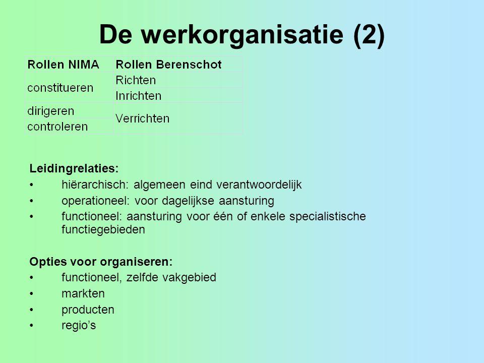 De werkorganisatie (2) Leidingrelaties: hiërarchisch: algemeen eind verantwoordelijk operationeel: voor dagelijkse aansturing functioneel: aansturing