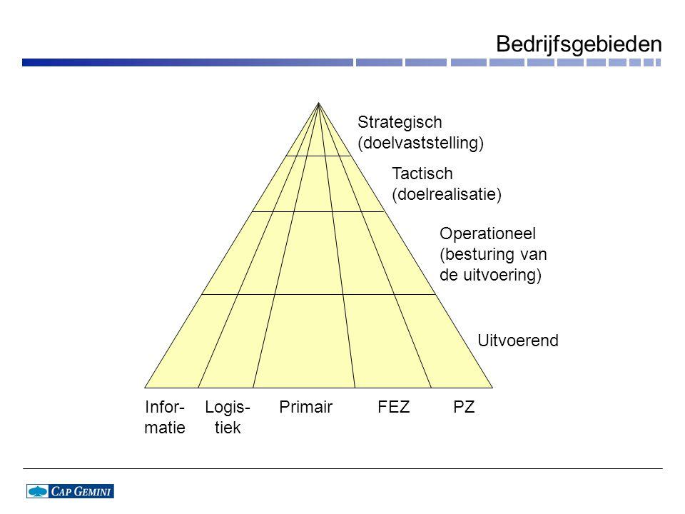Bedrijfsgebieden Infor- matie Logis- tiek PrimairFEZPZ Strategisch (doelvaststelling) Tactisch (doelrealisatie) Operationeel (besturing van de uitvoer