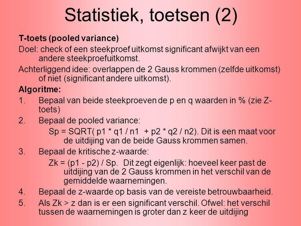 Statistiek, toetsen (3) T-toets (pooled variance), vervolg Je kunt het ook anders, meer concreet, benaderen: 1.Bepaal van beide steekproeven de p en q waarden in % (zie Z- toets) 2.Bepaal de pooled variance: Sp = SQRT( p1 * q1 / n1 + p2 * q2 / n2).