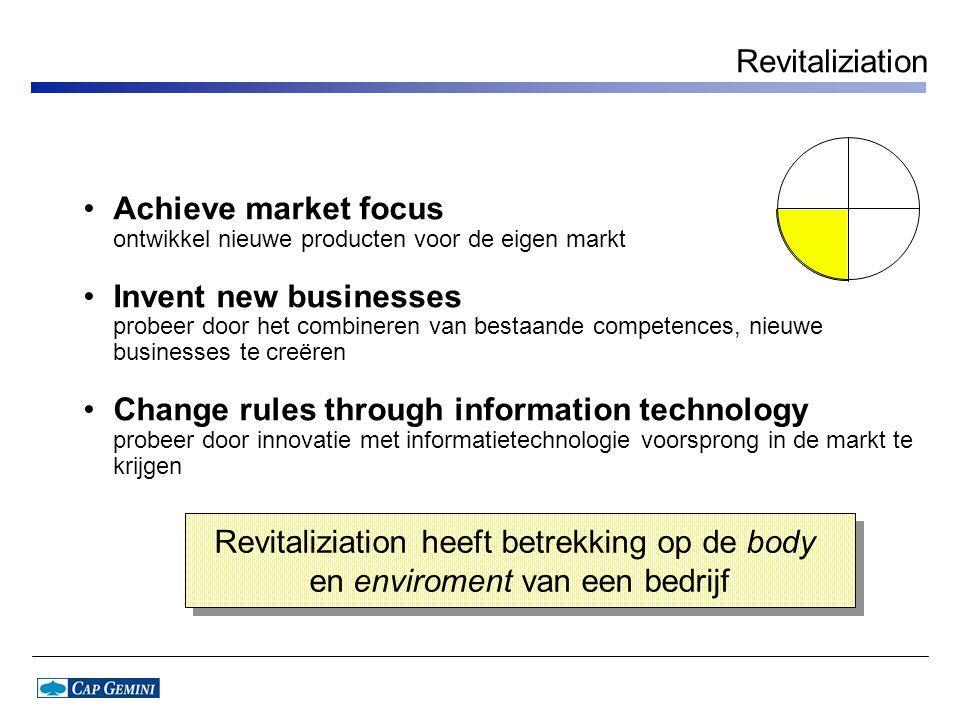 Revitaliziation Achieve market focus ontwikkel nieuwe producten voor de eigen markt Invent new businesses probeer door het combineren van bestaande co