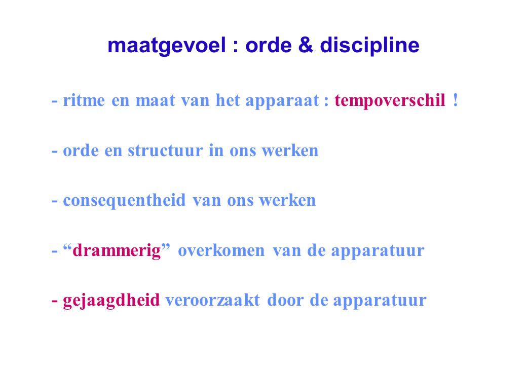maatgevoel : orde & discipline - ritme en maat van het apparaat : tempoverschil .