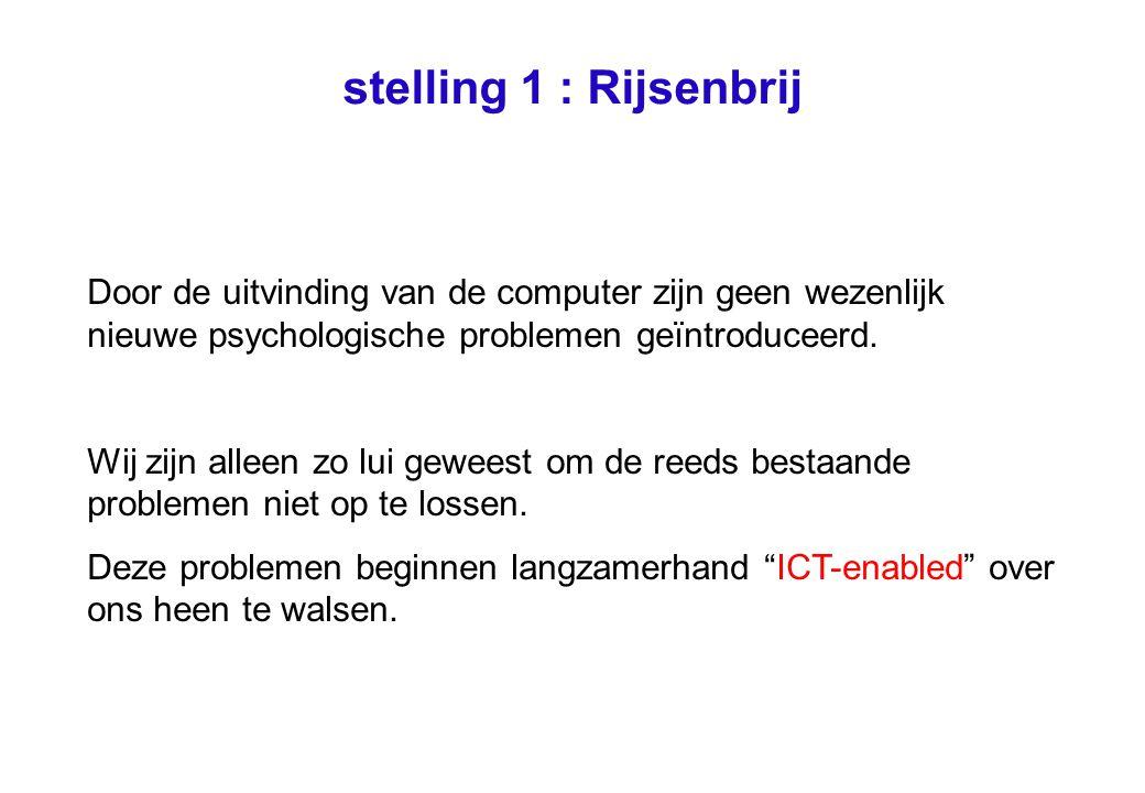 stelling 1 : Rijsenbrij Door de uitvinding van de computer zijn geen wezenlijk nieuwe psychologische problemen geïntroduceerd.