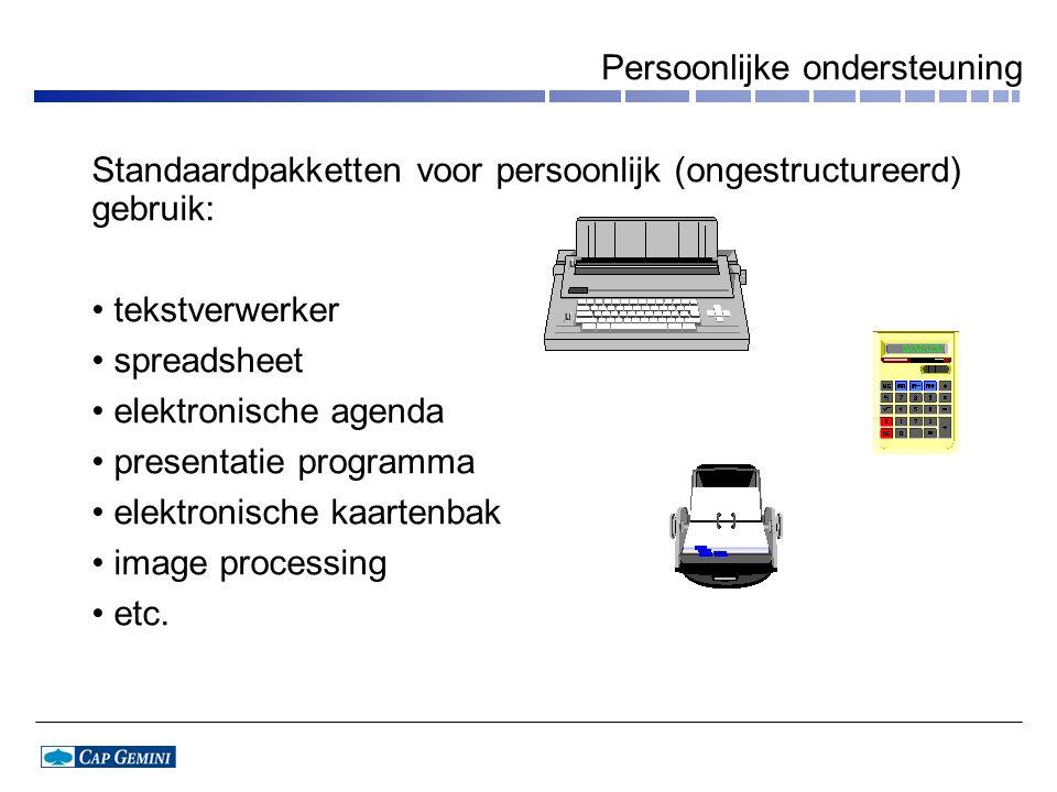 Persoonlijke ondersteuning Standaardpakketten voor persoonlijk (ongestructureerd) gebruik: tekstverwerker spreadsheet elektronische agenda presentatie programma elektronische kaartenbak image processing etc.