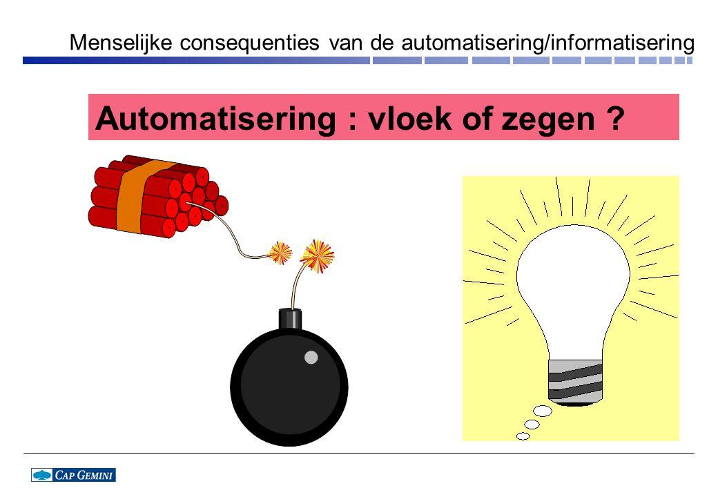 Automatisering : vloek of zegen ? Menselijke consequenties van de automatisering/informatisering