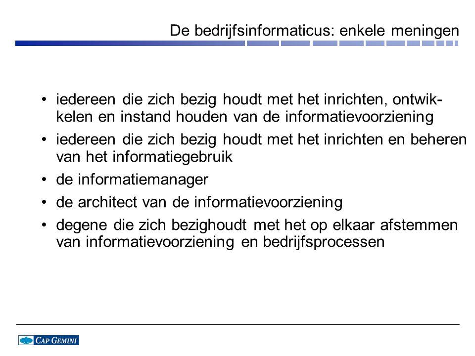 De bedrijfsinformaticus: enkele meningen iedereen die zich bezig houdt met het inrichten, ontwik- kelen en instand houden van de informatievoorziening