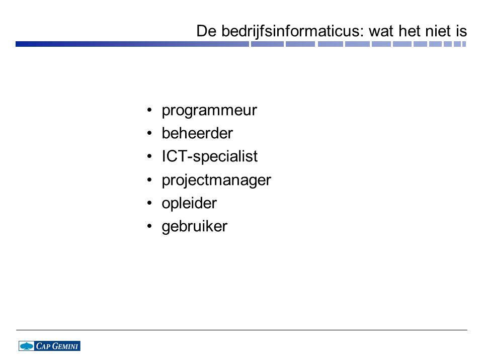 De bedrijfsinformaticus: wat het niet is programmeur beheerder ICT-specialist projectmanager opleider gebruiker