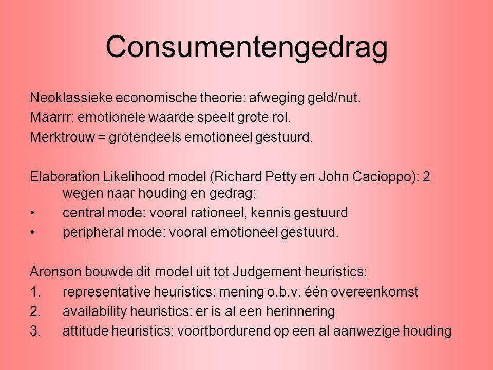 Consumentengedrag Neoklassieke economische theorie: afweging geld/nut. Maarrr: emotionele waarde speelt grote rol. Merktrouw = grotendeels emotioneel