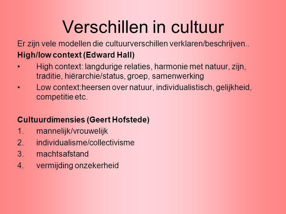 Verschillen in cultuur Er zijn vele modellen die cultuurverschillen verklaren/beschrijven.. High/low context (Edward Hall) High context: langdurige re