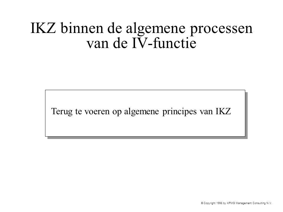 © Copyright 1998 by KPMG Management Consulting N.V. IKZ binnen de algemene processen van de IV-functie Terug te voeren op algemene principes van IKZ