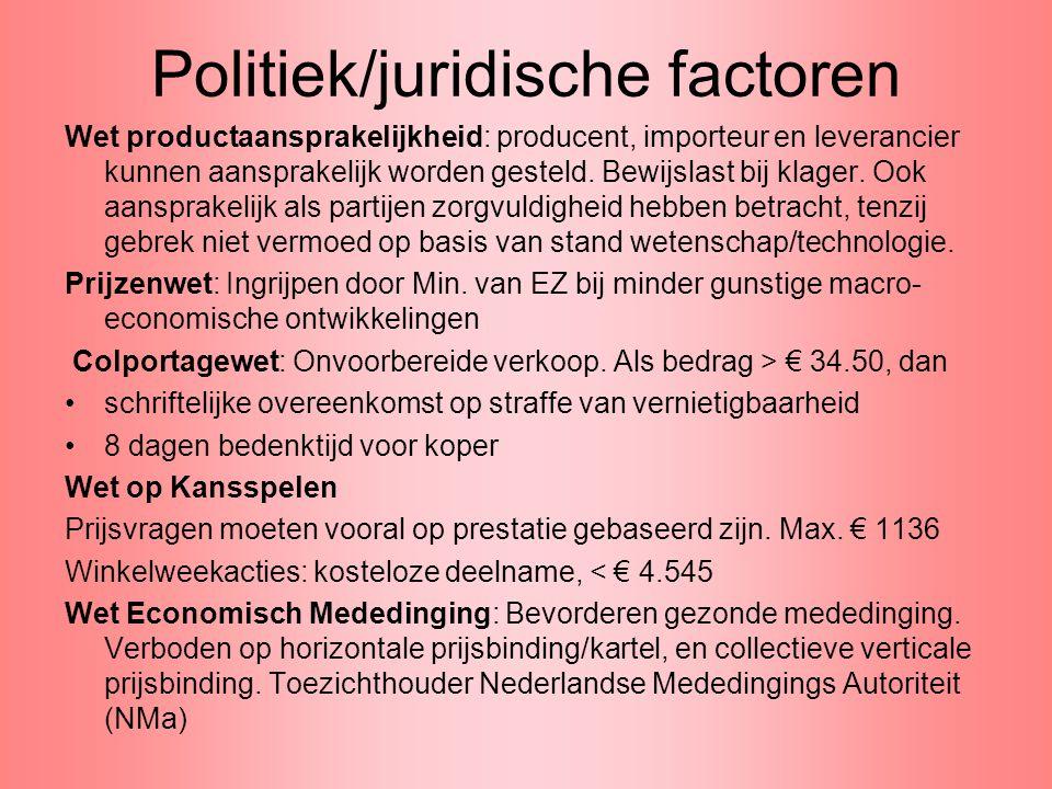Politiek/juridische factoren Wet productaansprakelijkheid: producent, importeur en leverancier kunnen aansprakelijk worden gesteld. Bewijslast bij kla