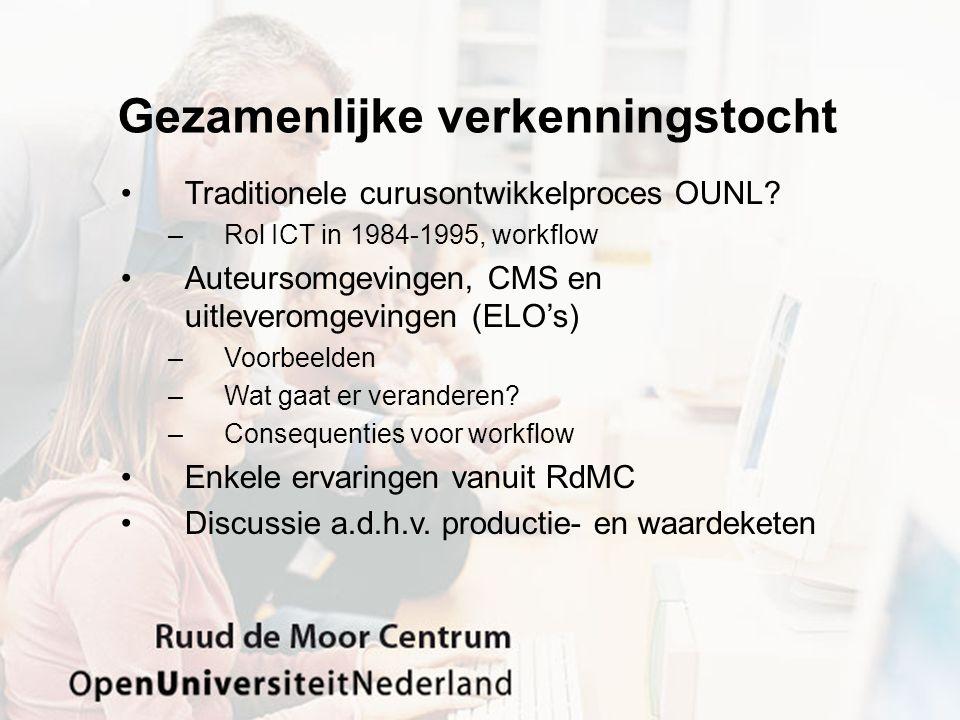 Cursusproductie OUNL Als eerste geïndustrialiseerde productie van (afstands)onderwijs –Cursusteam voor ontwikkeling (tijdelijk project) –Proeftoetsing met studenten –Inhoudelijk afronden en certificering (incl.