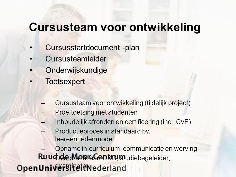 Cursusteam voor ontwikkeling Cursusstartdocument -plan Cursusteamleider Onderwijskundige Toetsexpert –Cursusteam voor ontwikkeling (tijdelijk project) –Proeftoetsing met studenten –Inhoudelijk afronden en certificering (incl.