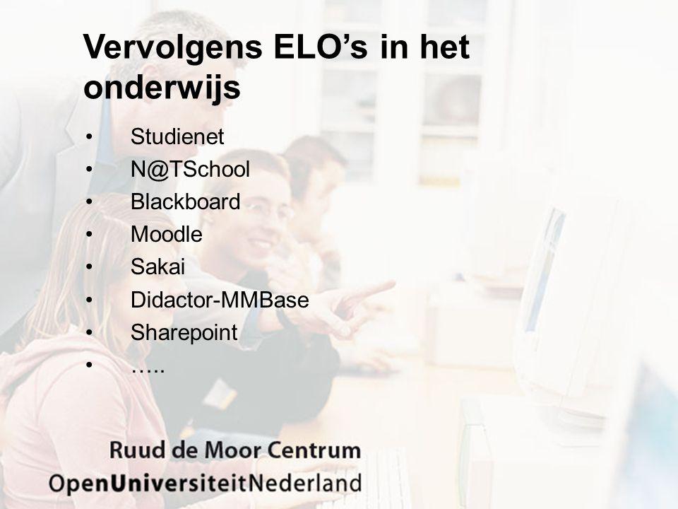 Vervolgens ELO's in het onderwijs Studienet N@TSchool Blackboard Moodle Sakai Didactor-MMBase Sharepoint …..