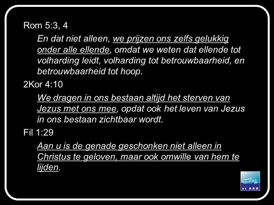 Rom 5:3, 4 En dat niet alleen, we prijzen ons zelfs gelukkig onder alle ellende, omdat we weten dat ellende tot volharding leidt, volharding tot betro