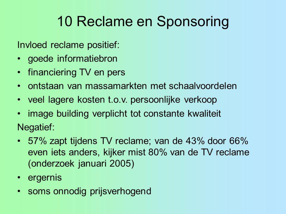 10 Reclame en Sponsoring Invloed reclame positief: goede informatiebron financiering TV en pers ontstaan van massamarkten met schaalvoordelen veel lag