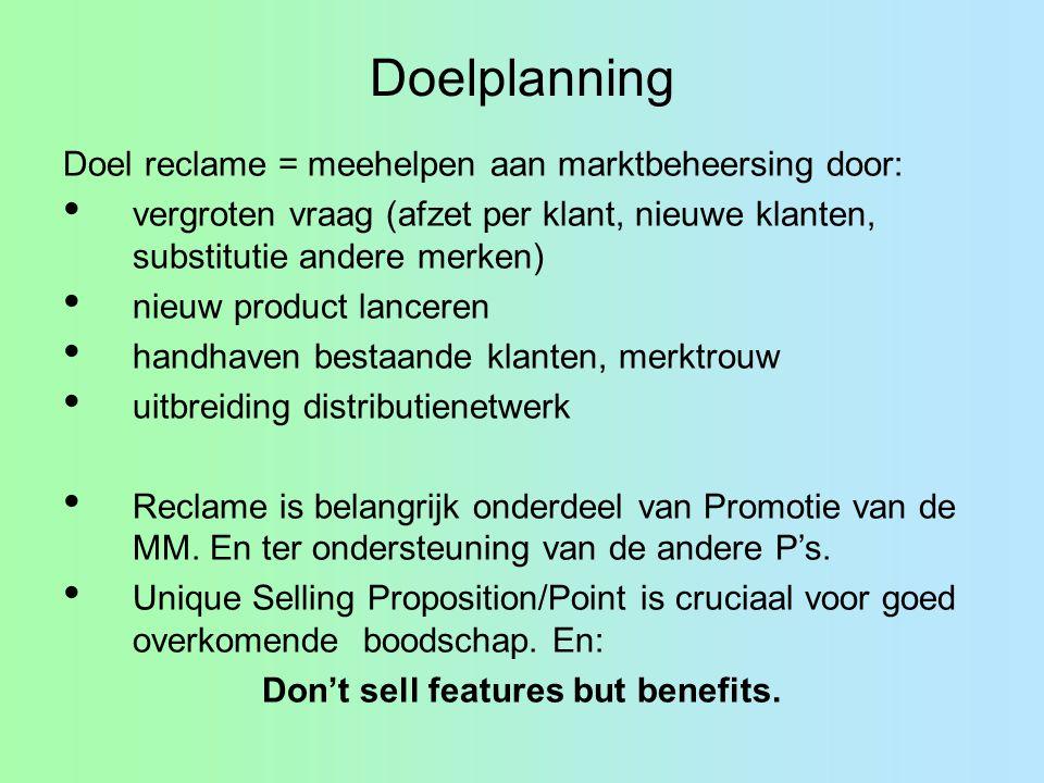 Doelplanning Doel reclame = meehelpen aan marktbeheersing door: vergroten vraag (afzet per klant, nieuwe klanten, substitutie andere merken) nieuw pro