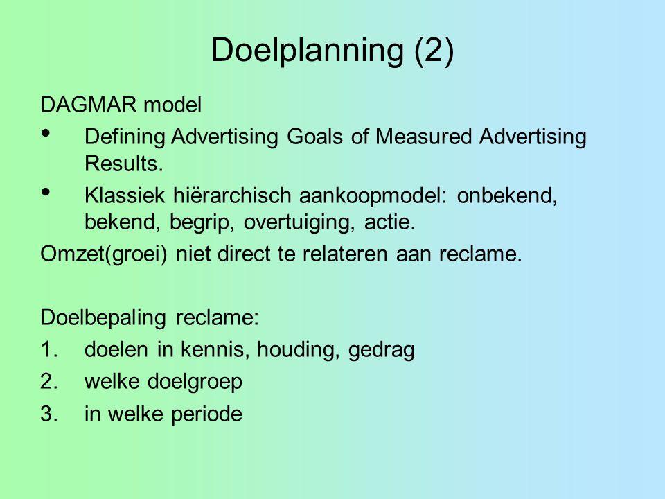 Doelplanning (2) DAGMAR model Defining Advertising Goals of Measured Advertising Results. Klassiek hiërarchisch aankoopmodel: onbekend, bekend, begrip