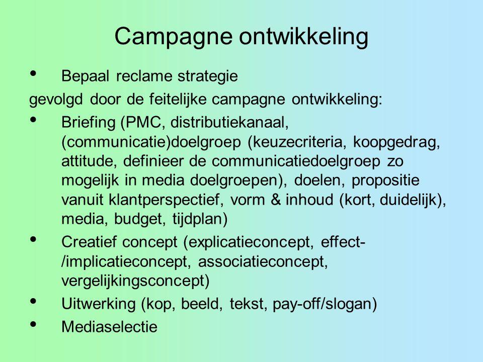 Campagne ontwikkeling Bepaal reclame strategie gevolgd door de feitelijke campagne ontwikkeling: Briefing (PMC, distributiekanaal, (communicatie)doelg