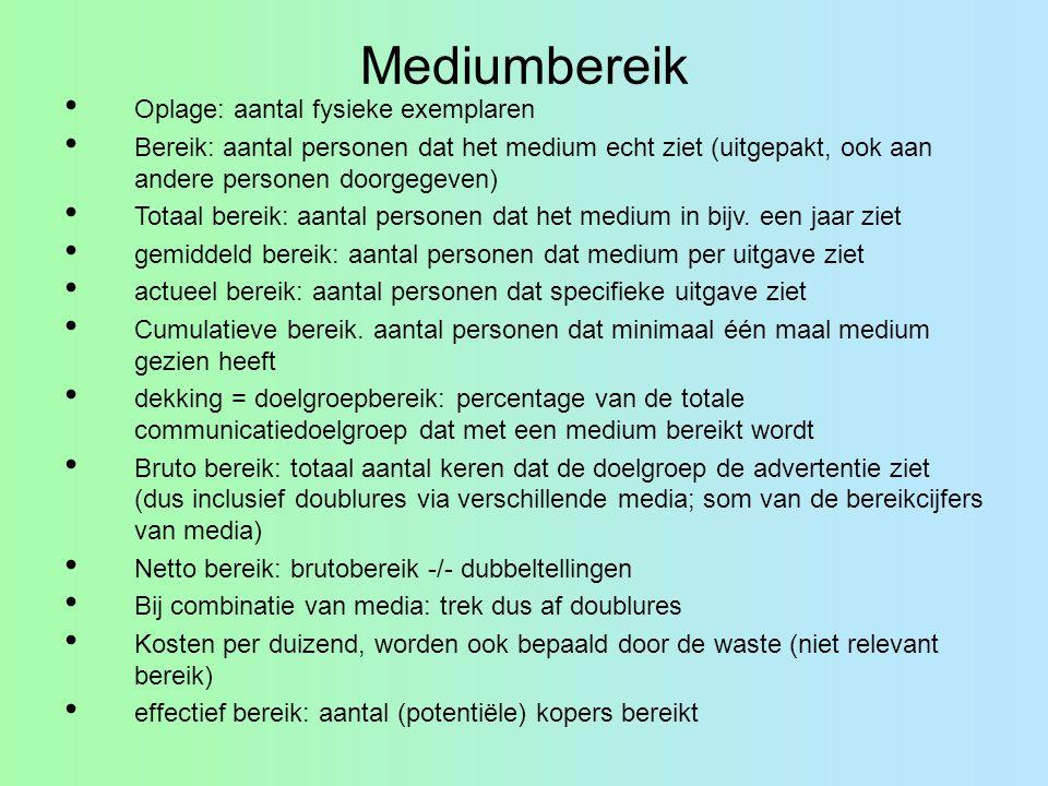 Mediumbereik Oplage: aantal fysieke exemplaren Bereik: aantal personen dat het medium echt ziet (uitgepakt, ook aan andere personen doorgegeven) Totaa