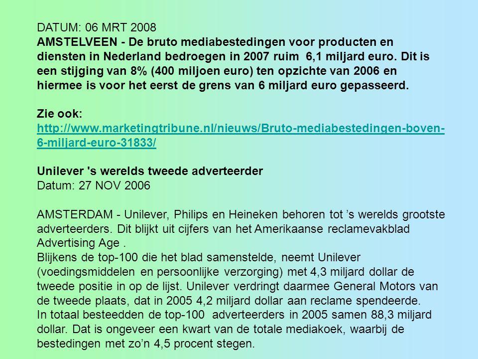 DATUM: 06 MRT 2008 AMSTELVEEN - De bruto mediabestedingen voor producten en diensten in Nederland bedroegen in 2007 ruim 6,1 miljard euro. Dit is een