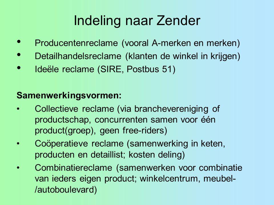 Indeling naar Zender Producentenreclame (vooral A-merken en merken) Detailhandelsreclame (klanten de winkel in krijgen) Ideële reclame (SIRE, Postbus
