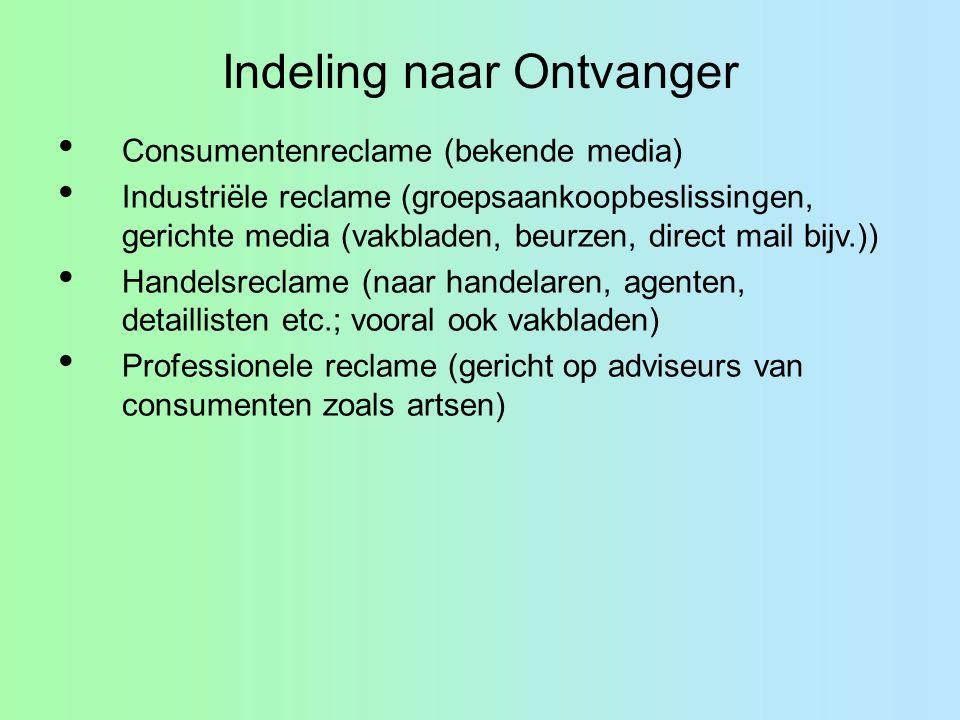 Indeling naar Ontvanger Consumentenreclame (bekende media) Industriële reclame (groepsaankoopbeslissingen, gerichte media (vakbladen, beurzen, direct