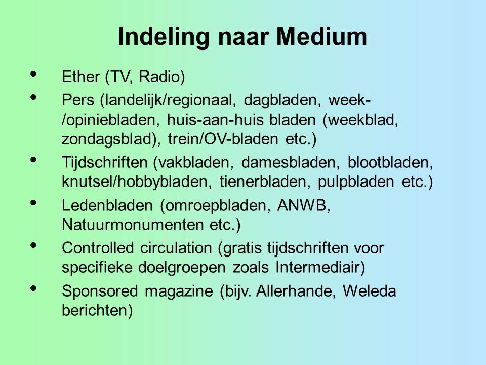 Indeling naar Medium Ether (TV, Radio) Pers (landelijk/regionaal, dagbladen, week- /opiniebladen, huis-aan-huis bladen (weekblad, zondagsblad), trein/