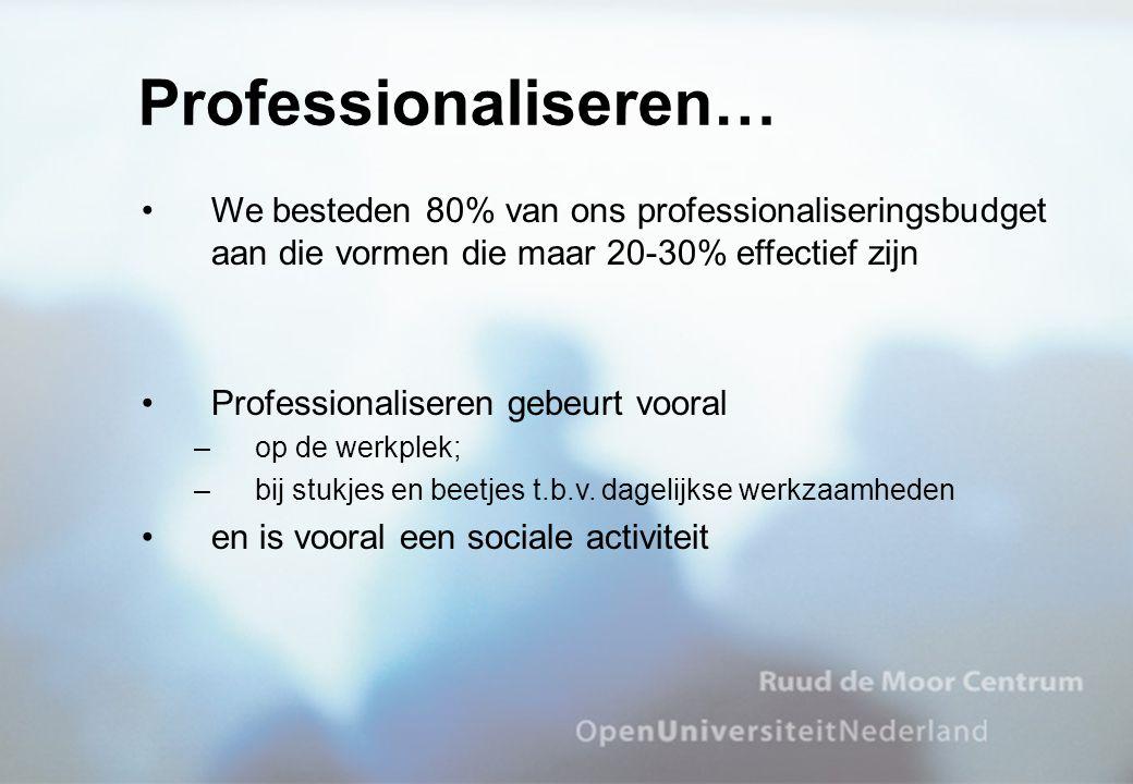 We besteden 80% van ons professionaliseringsbudget aan die vormen die maar 20-30% effectief zijn Professionaliseren gebeurt vooral –op de werkplek; –bij stukjes en beetjes t.b.v.