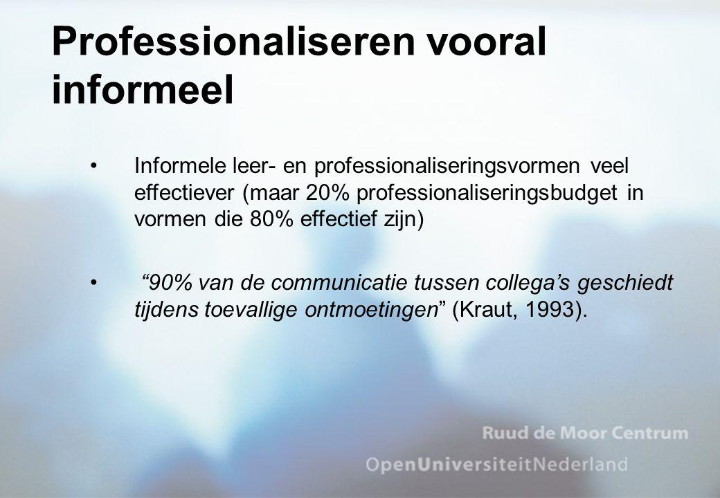 Informele leer- en professionaliseringsvormen veel effectiever (maar 20% professionaliseringsbudget in vormen die 80% effectief zijn) 90% van de communicatie tussen collega's geschiedt tijdens toevallige ontmoetingen (Kraut, 1993).
