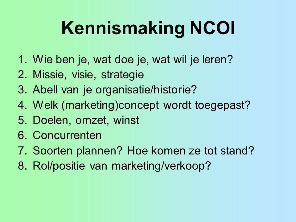 Kennismaking NCOI 1.Wie ben je, wat doe je, wat wil je leren? 2.Missie, visie, strategie 3.Abell van je organisatie/historie? 4.Welk (marketing)concep