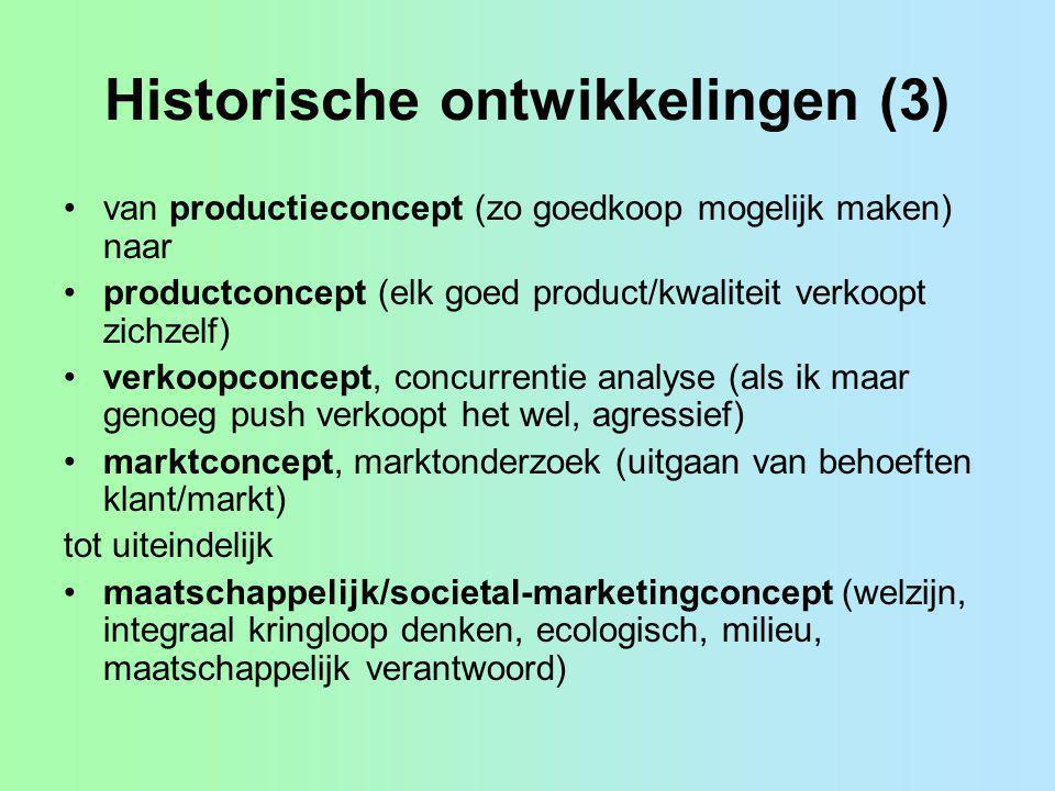 Historische ontwikkelingen (3) van productieconcept (zo goedkoop mogelijk maken) naar productconcept (elk goed product/kwaliteit verkoopt zichzelf) ve