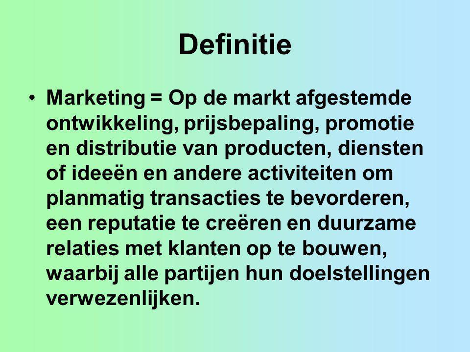 Definitie Marketing = Op de markt afgestemde ontwikkeling, prijsbepaling, promotie en distributie van producten, diensten of ideeën en andere activite