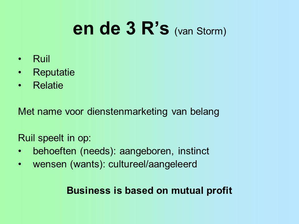 en de 3 R's (van Storm) Ruil Reputatie Relatie Met name voor dienstenmarketing van belang Ruil speelt in op: behoeften (needs): aangeboren, instinct w