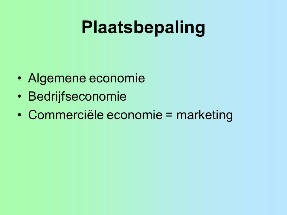 Plaatsbepaling Algemene economie Bedrijfseconomie Commerciële economie = marketing
