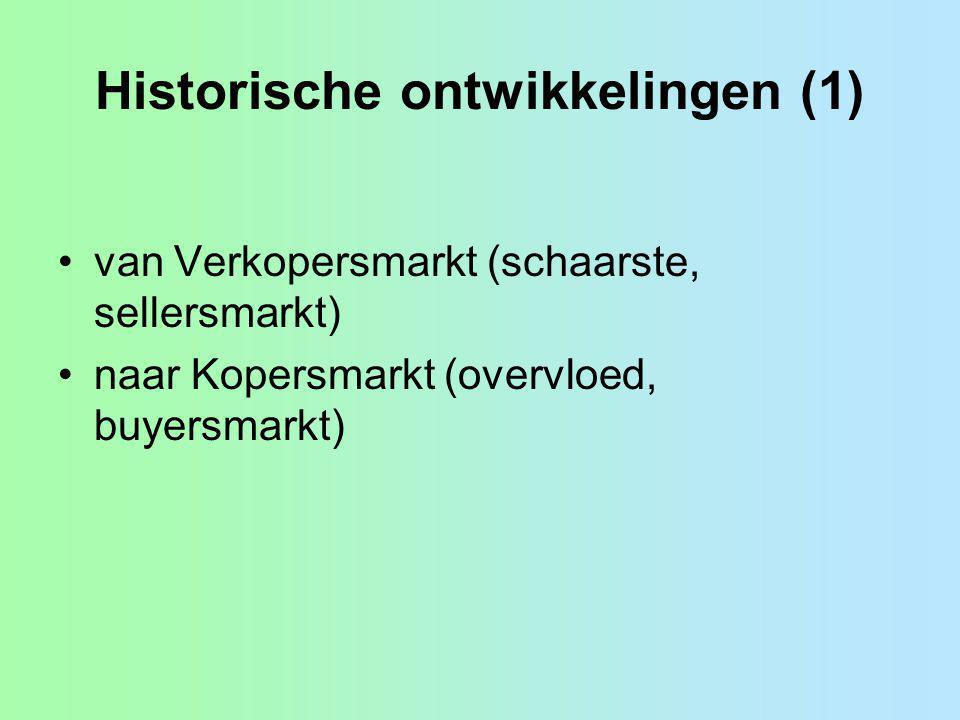 Historische ontwikkelingen (1) van Verkopersmarkt (schaarste, sellersmarkt) naar Kopersmarkt (overvloed, buyersmarkt)
