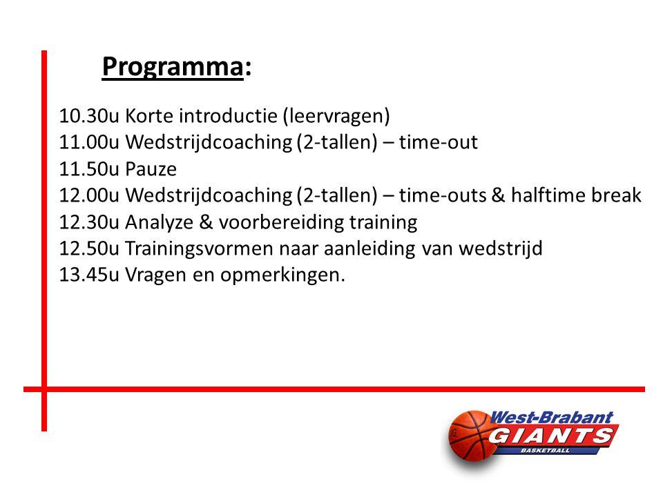Programma: 10.30uKorte introductie (leervragen) 11.00uWedstrijdcoaching (2-tallen) – time-out 11.50uPauze 12.00uWedstrijdcoaching (2-tallen) – time-outs & halftime break 12.30uAnalyze & voorbereiding training 12.50uTrainingsvormen naar aanleiding van wedstrijd 13.45uVragen en opmerkingen.