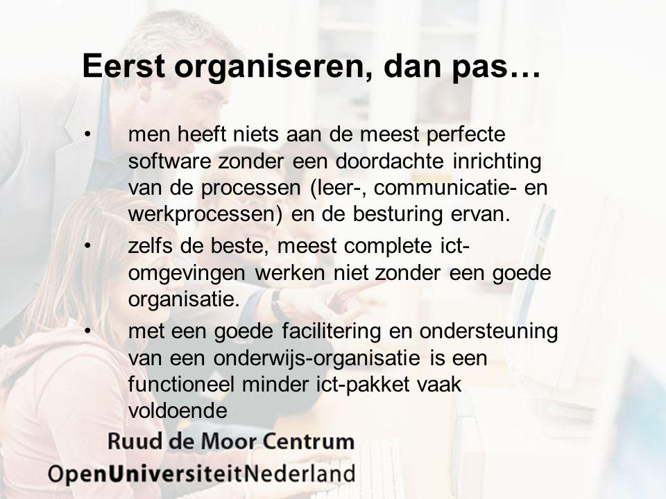 Eerst organiseren, dan pas… men heeft niets aan de meest perfecte software zonder een doordachte inrichting van de processen (leer-, communicatie- en werkprocessen) en de besturing ervan.