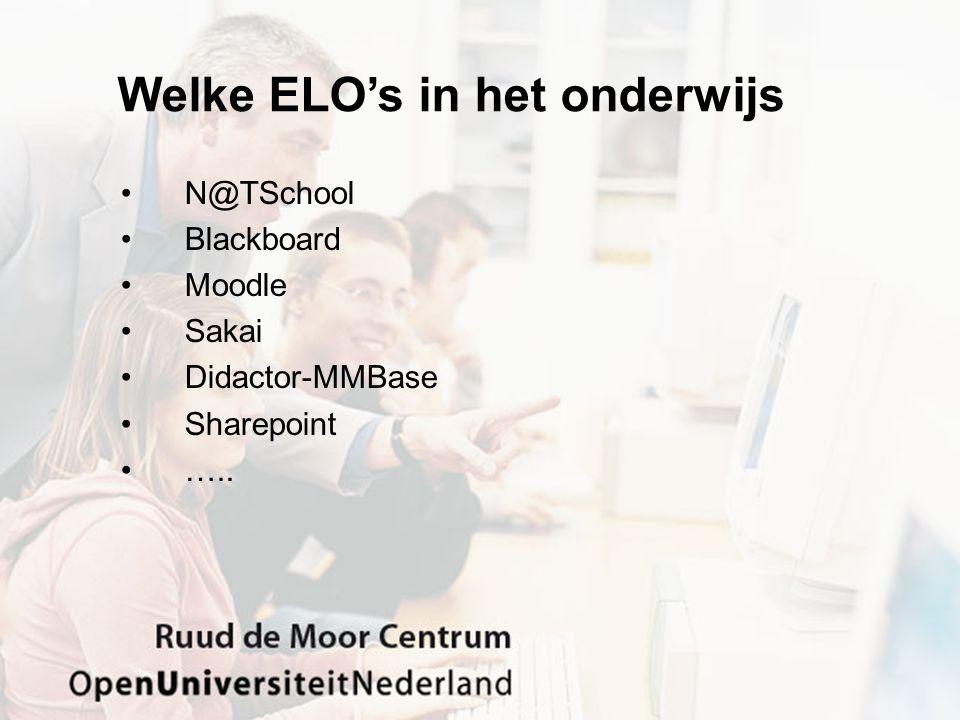 Welke ELO's in het onderwijs N@TSchool Blackboard Moodle Sakai Didactor-MMBase Sharepoint …..
