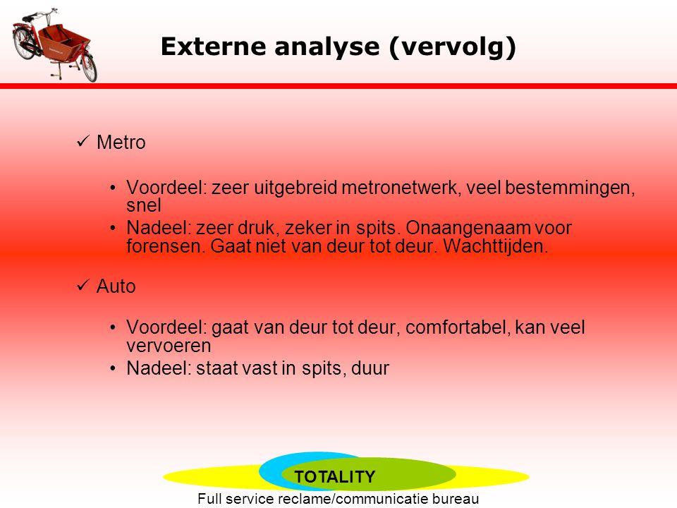 TOTALITY Full service reclame/communicatie bureau Externe analyse Veel concurrentie van substituten: Fiets, citybike Goedkoop, milieuvriendenijk.