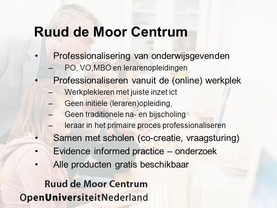 Ruud de Moor Centrum Professionalisering van onderwijsgevenden –PO, VO,MBO en lerarenopleidingen Professionaliseren vanuit de (online) werkplek –Werkp