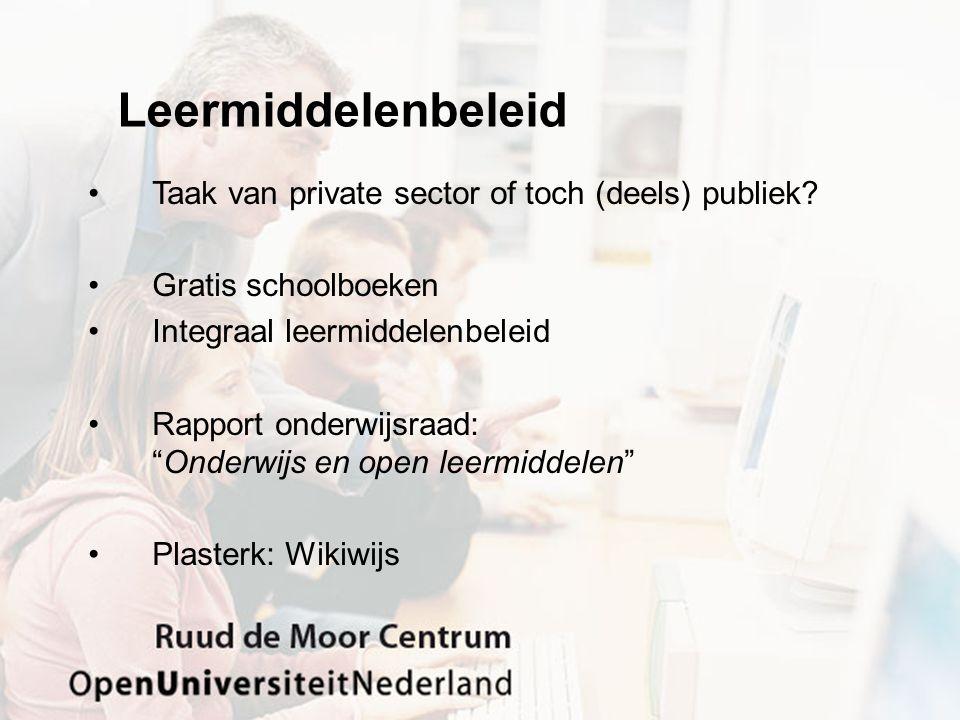 "Leermiddelenbeleid Taak van private sector of toch (deels) publiek? Gratis schoolboeken Integraal leermiddelenbeleid Rapport onderwijsraad: ""Onderwijs"