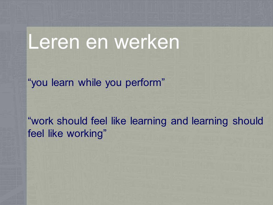 Leren en werken 40% van de aanwezige denkkracht in organisaties niet wordt benut Van de kennis en vaardigheden die nodig zijn om een professioneel beroep uit te oefenen, is naar schatting slechts 20-40% verkregen via formele opleidingen